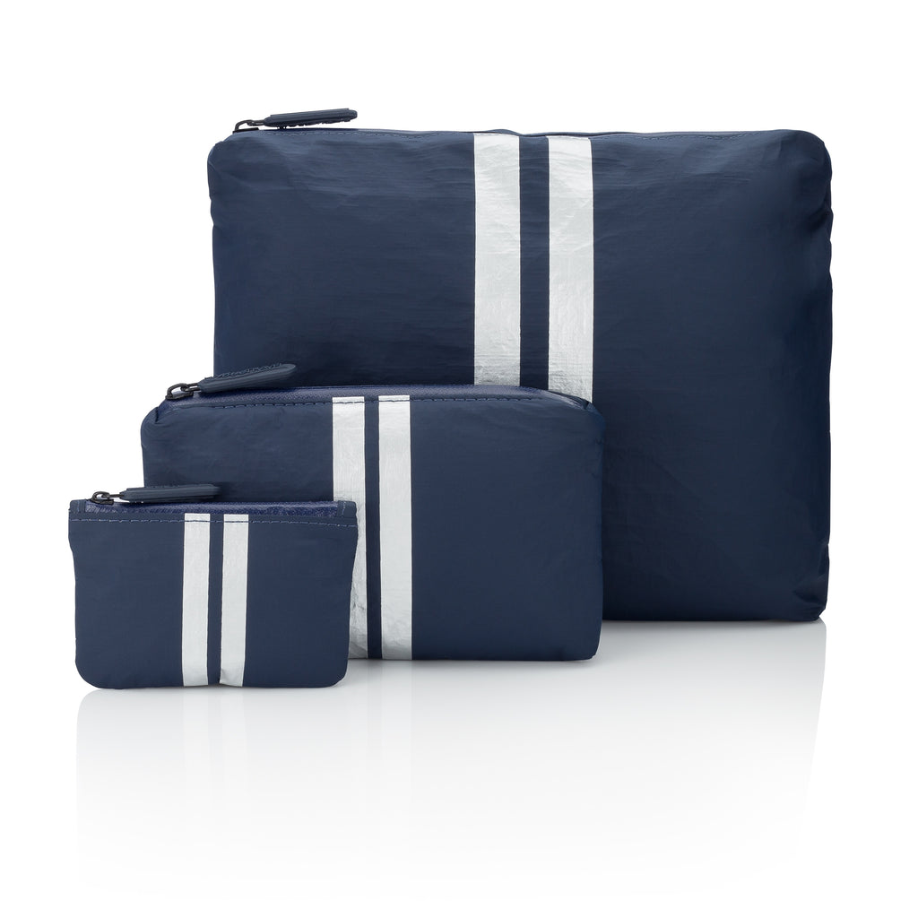 Set of Three Packs - Navy HLT Collection with a Metallic Silver Lines
