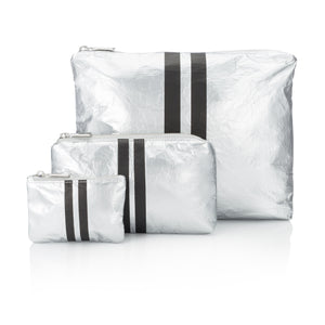 Cute Travel Bag Set - Set of Three Packs - Metallic Silver Collection with Black Stripes
