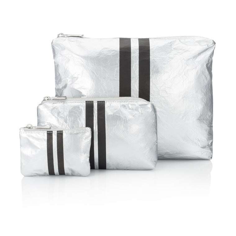 Set of Three Packs - Metallic Silver Collection with Black Lines