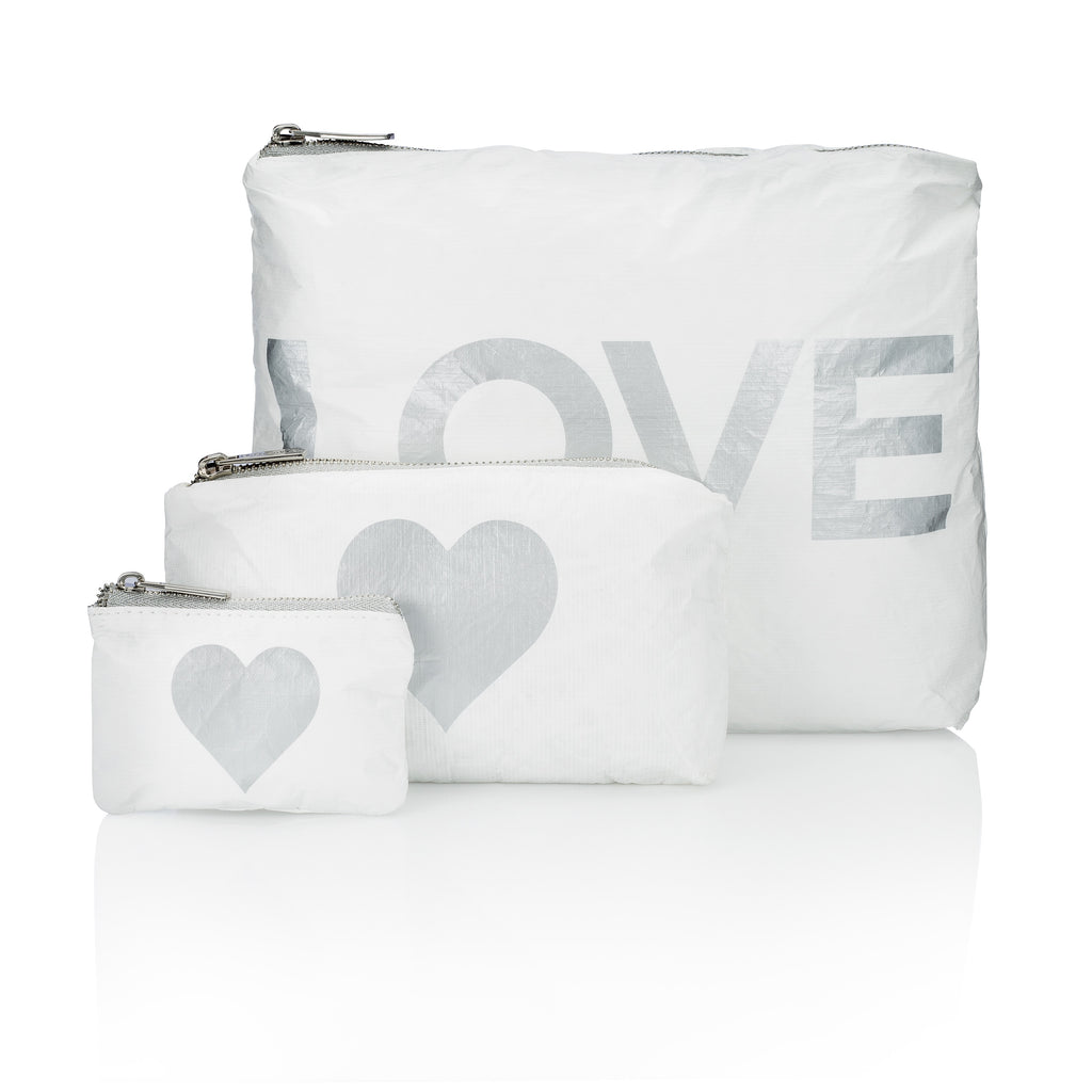 "Set of Three Packs - White with Metallic Silver ""LOVE"" and Heart"