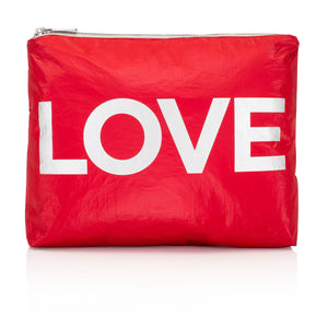"Travel Pack - Makeup Pouch - Medium Pack - Chili Pepper Red with Metallic Silver ""LOVE"""