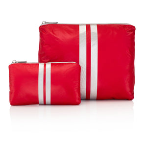 Hi Love Set of Two - Travel Pouch - Chili Pepper Red with Metallic Silver Stripes - First Aid Kit