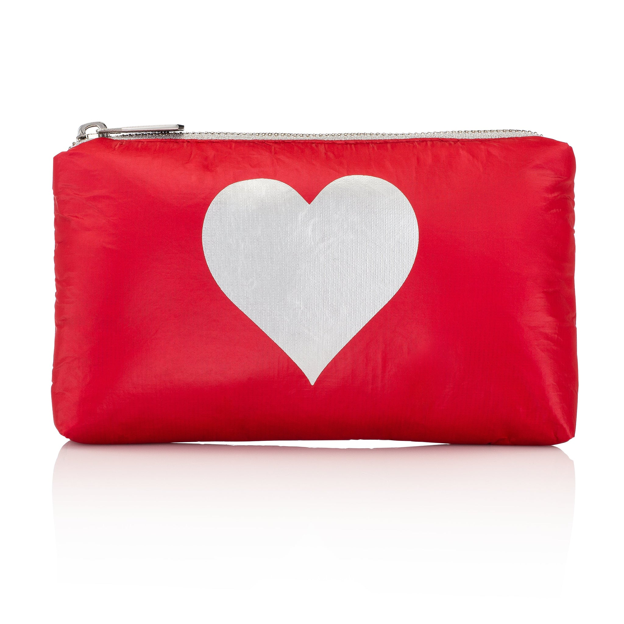 Cute Clutch - Travel Pouch - Mini Padded Pack - Chili Pepper Red with Metallic Silver Heart