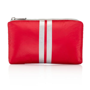 Hi Love Mini Padded Pack - Cute Clutch Bag - Chili Pepper Red with Metallic Silver Stripes
