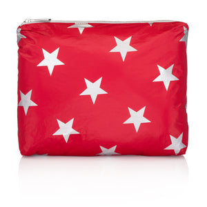 Travel Pack - Makeup Pouch - Medium Pack - Chili Pepper Red with Metallic Silver Stars