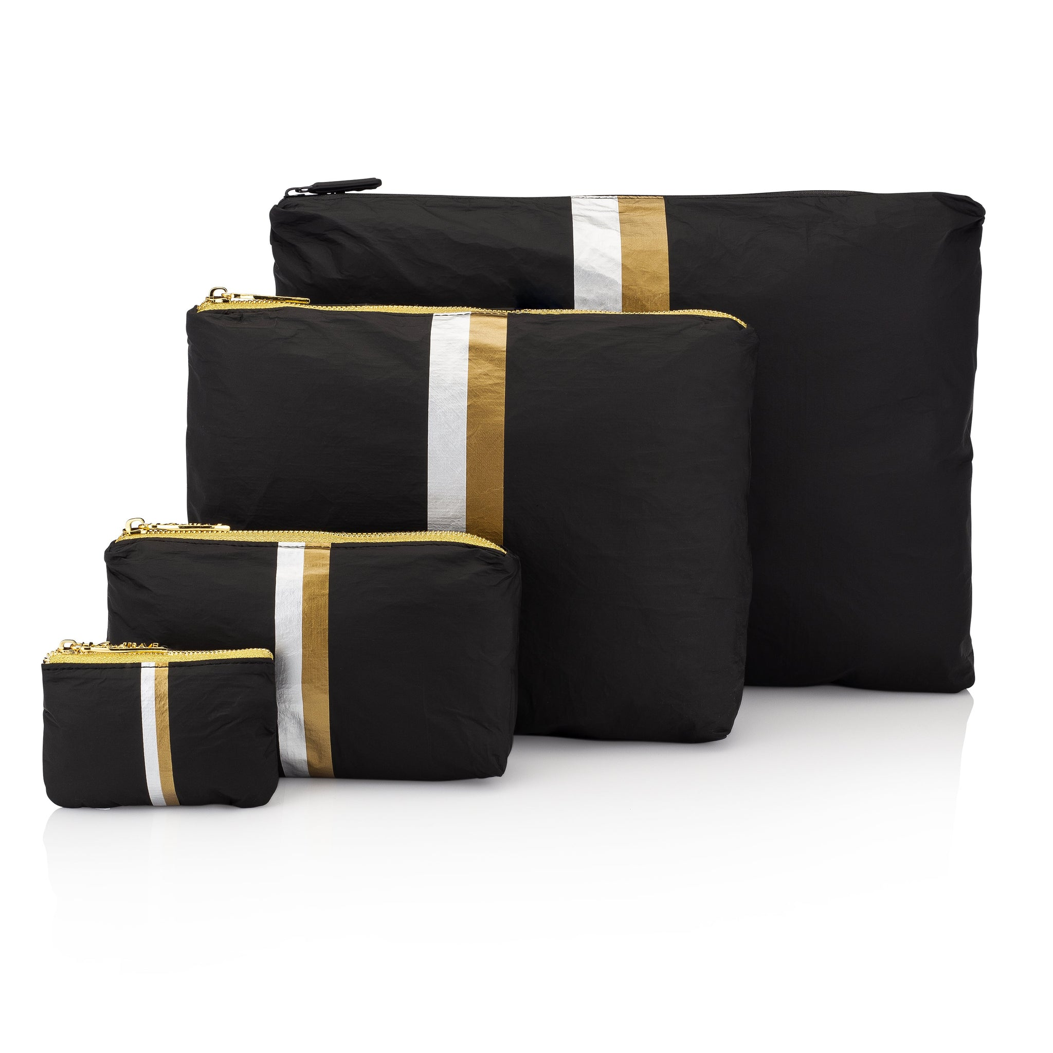 Four Piece Travel Bag Set - Black HLT Collection with Metallic Silver and Gold Stripes