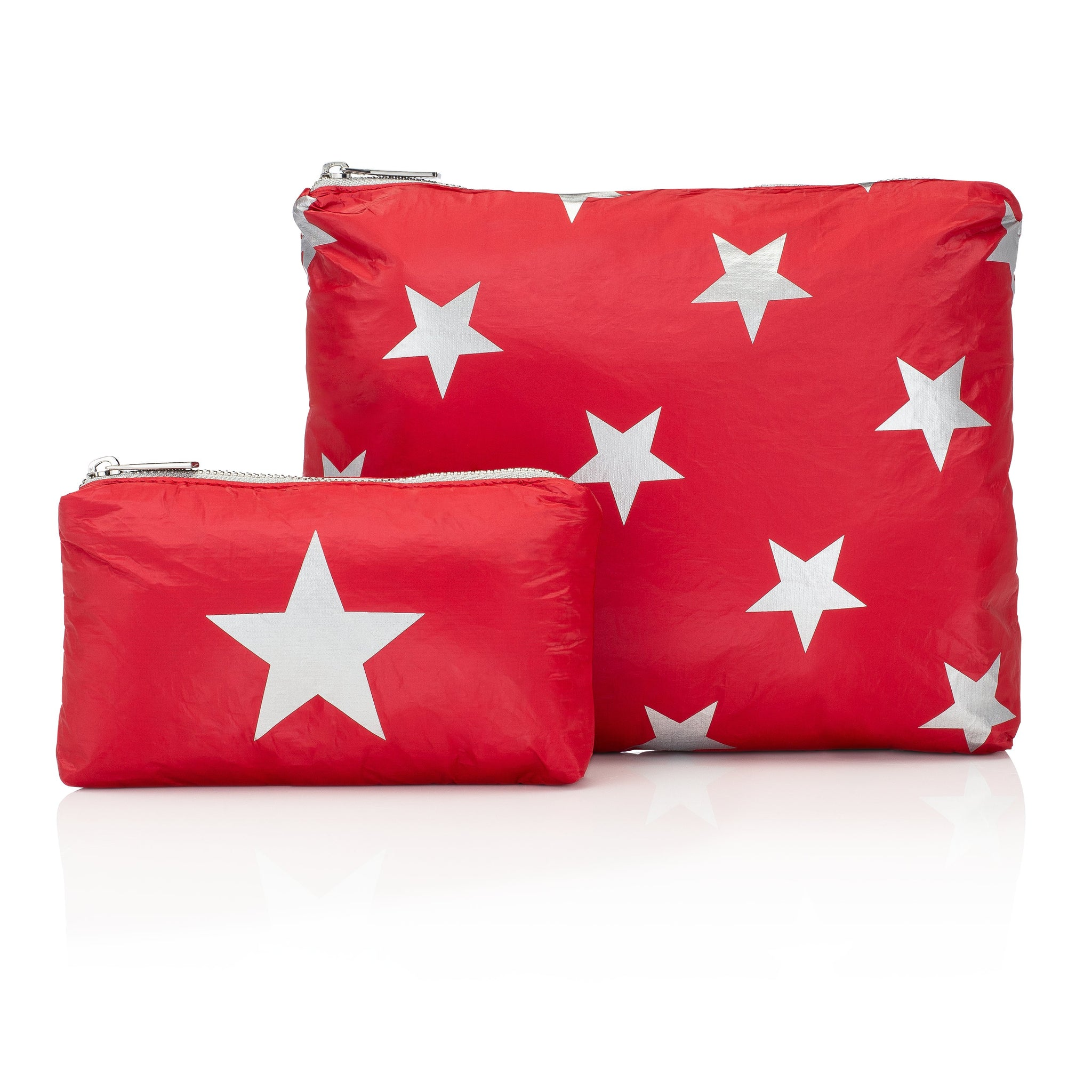 Set of Two - Chili Pepper Red with Silver Stars