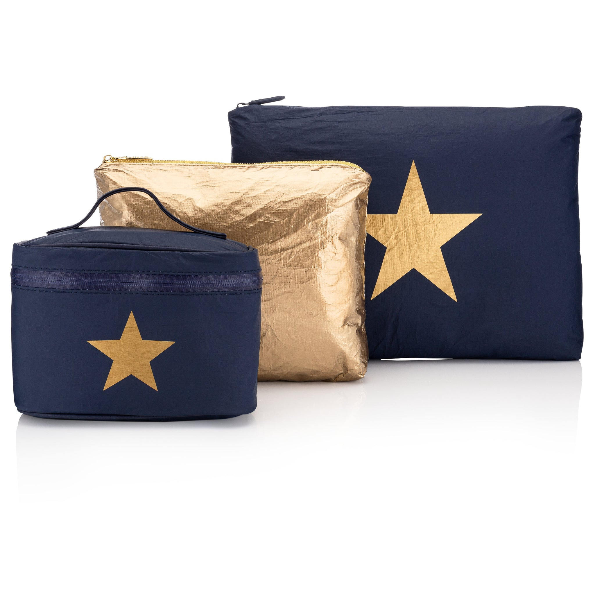 Navy and Gold Travel Bag Set