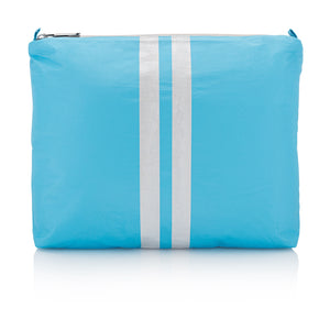 Makeup Bag - Medium Pack - Sky Blue with Shimmer White Stripes