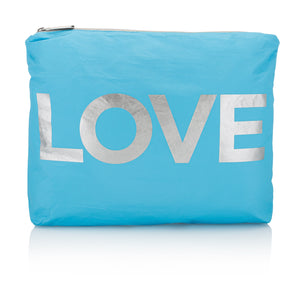"Travel Pack - Makeup Pouch - Beach Bag - Medium Pack - Sky Blue with Metallic Silver ""LOVE"""