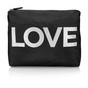 "Travel Pack - Beach Bag - Medium Pack - Black with Metallic Silver ""LOVE"""
