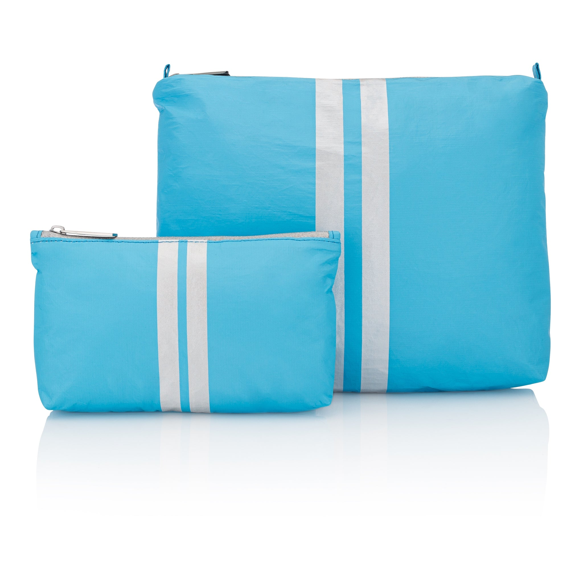 Cute Travel Pouch Set - Set of Two - Sky Blue with Shimmer White Stripes