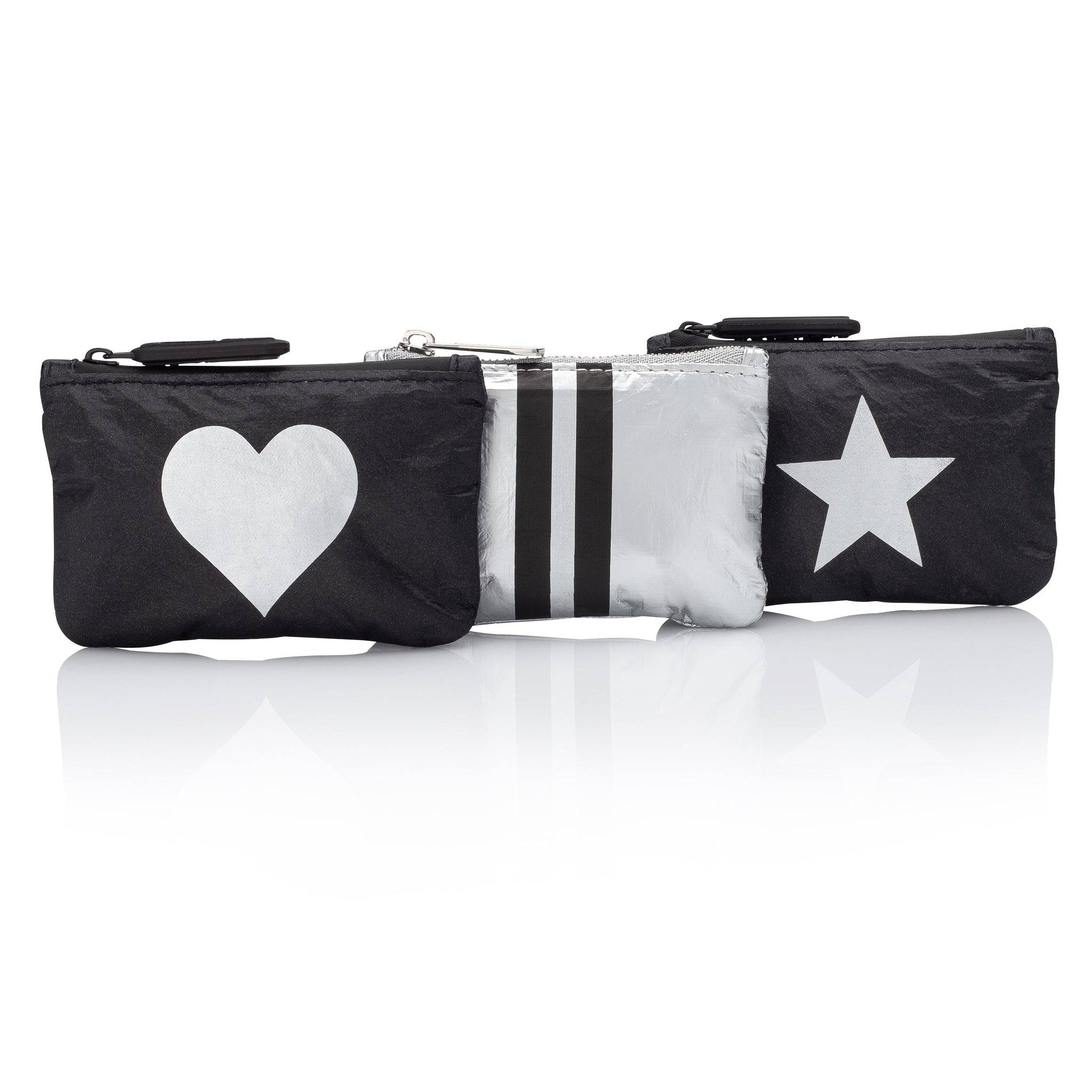 Set of Three Gift Card Holder Packs - Shimmer Black Collection with Heart, Stripe & Star