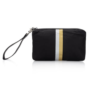 Cute Travel Clutch - Mini Padded Pack - Hi Love Black with Metallic Silver and Gold Stripes