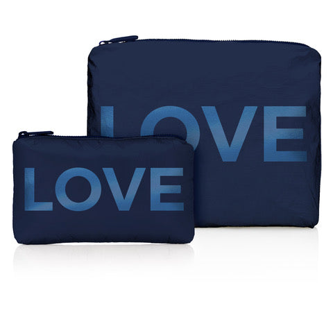 "Set of Two Packs - Shimmer Navy with Tone on Tone ""LOVE"""