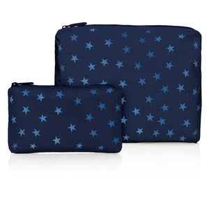 Set of Two - Shimmer Navy with Tone on Tone Stars