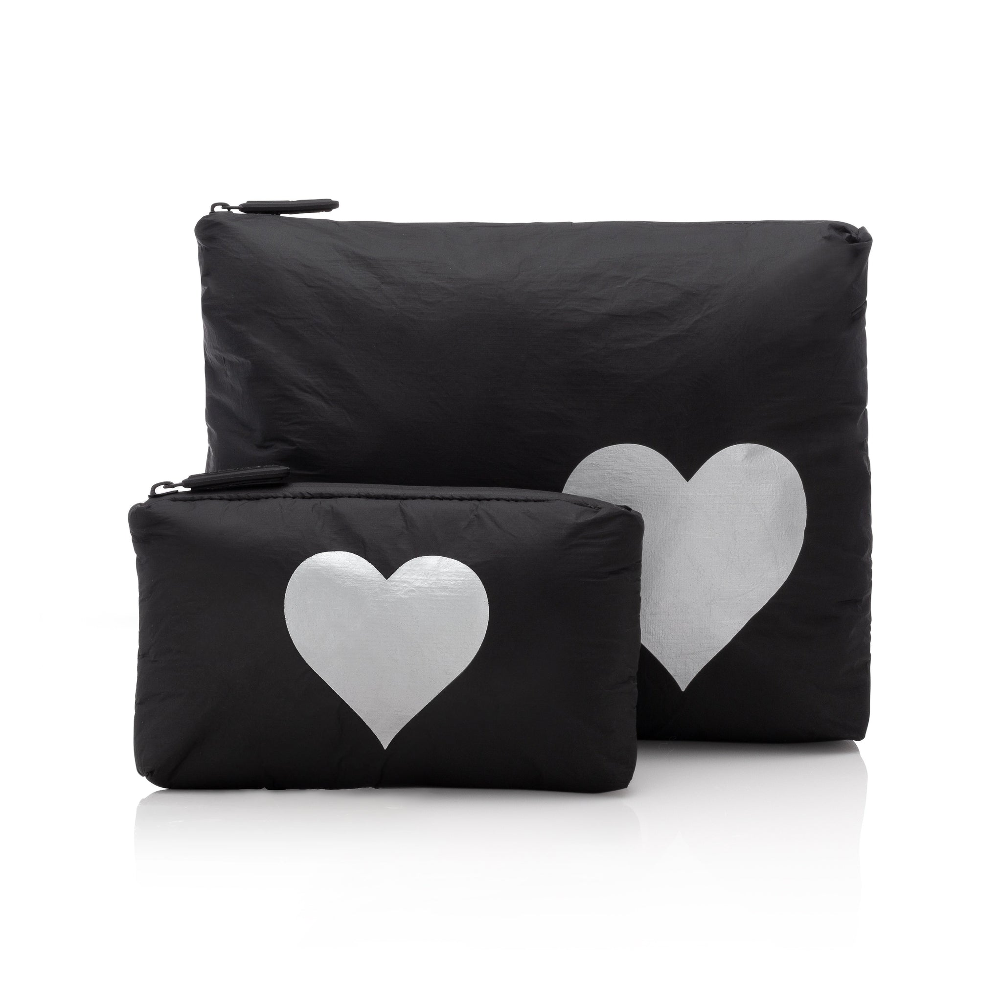 Set of Two Packs - Black with a Metallic Silver Heart