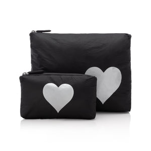 Set of Two - Black with Silver Heart