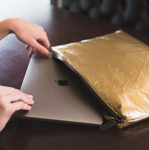 Attache Case / Computer Laptop Pack Padded - Shiny Metallic Gold