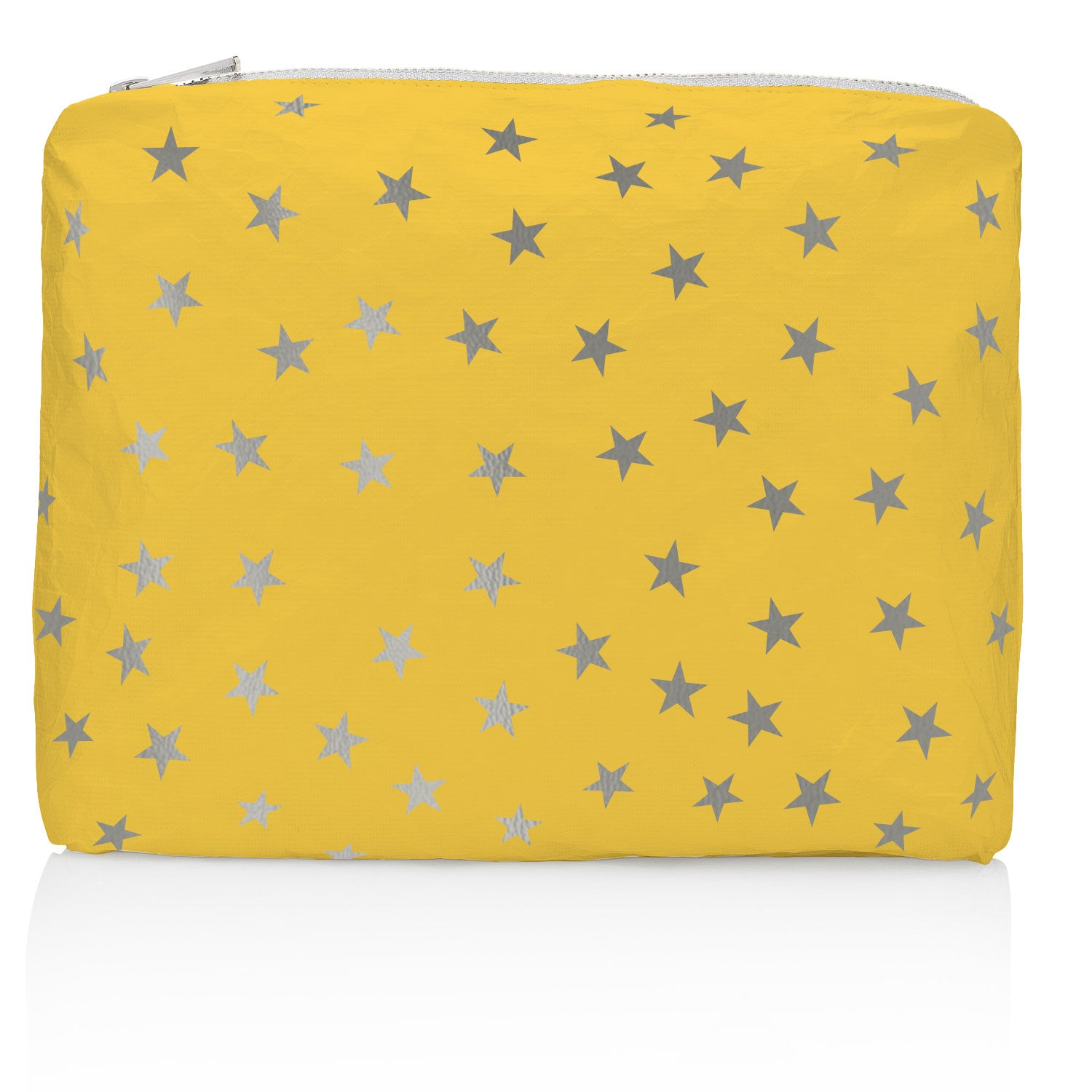 Travel Pack - Makeup Pouch - Beach Pack - Medium Pack - Island Sunshine with Myriad Metallic Silver Stars