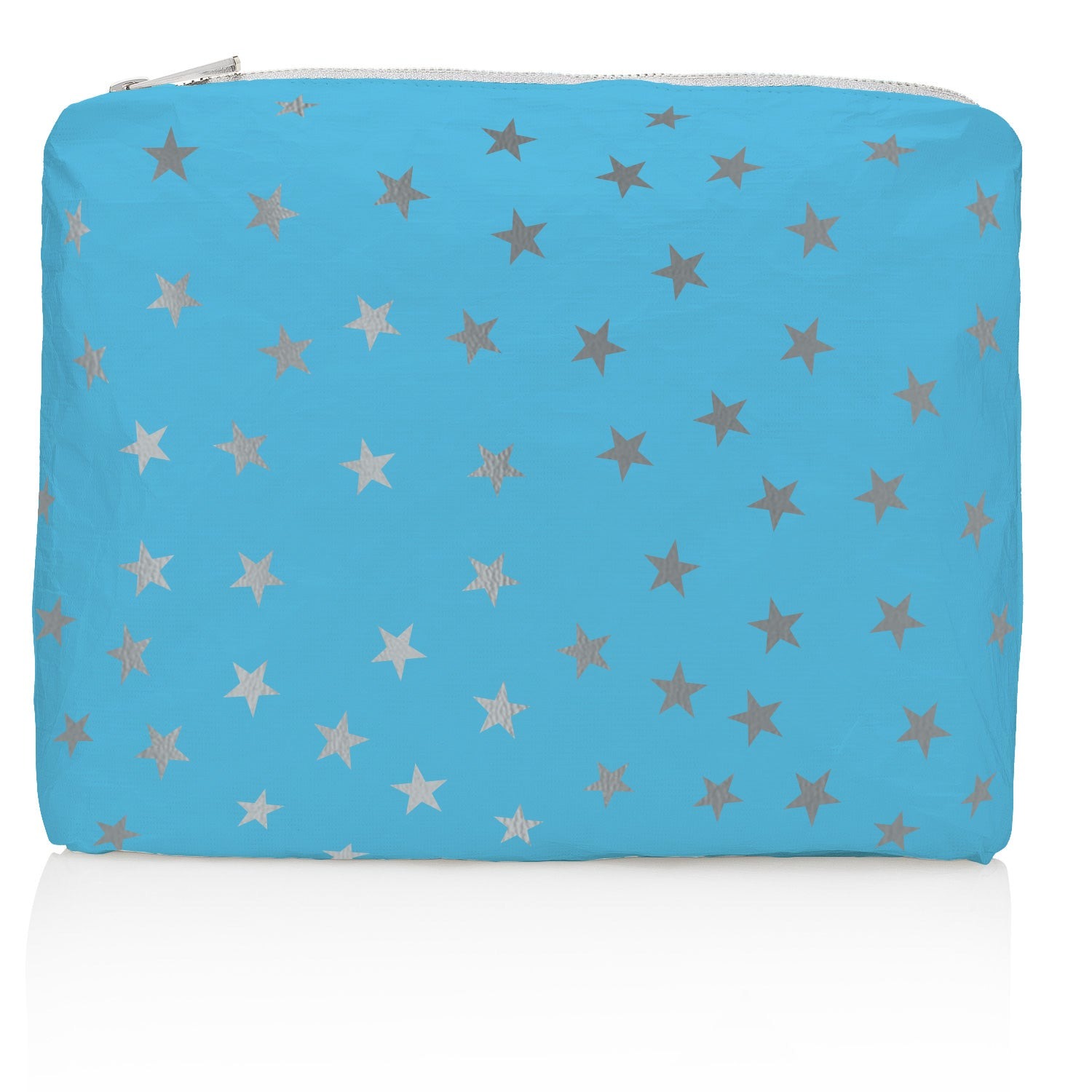 Makeup Pouch - Beach Bag - Travel Pack - Medium Pack - Sky Blue with Myriad Metallic Silver Stars