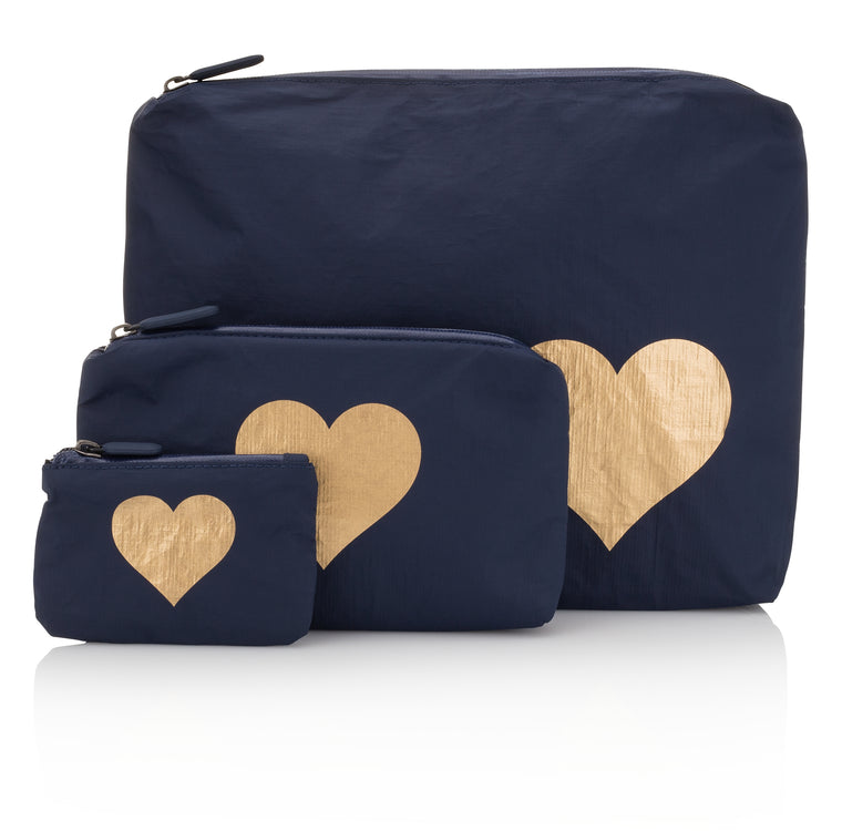 Set of Three Packs - Navy HLT Collection with a Metallic Gold Heart