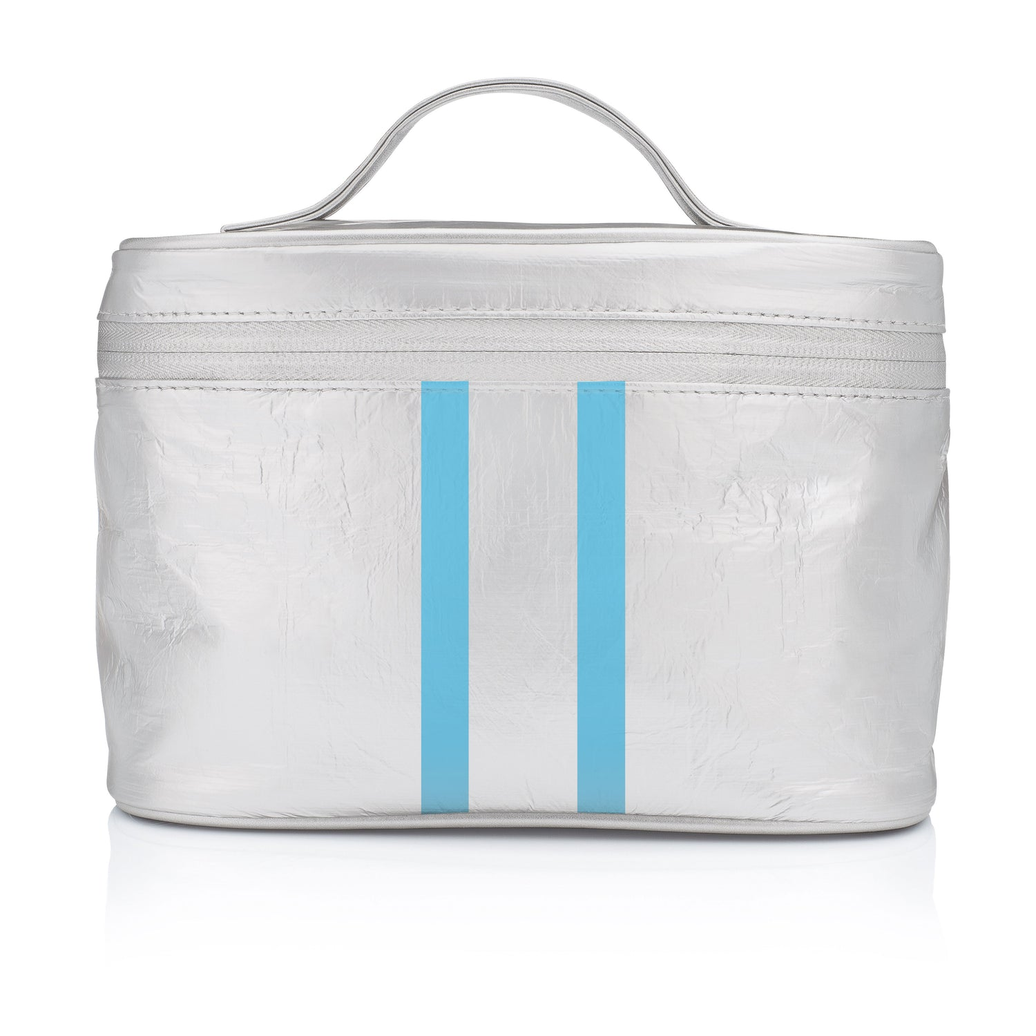 Makeup Carrier - Metallic Silver with Sky Blue Double Lines