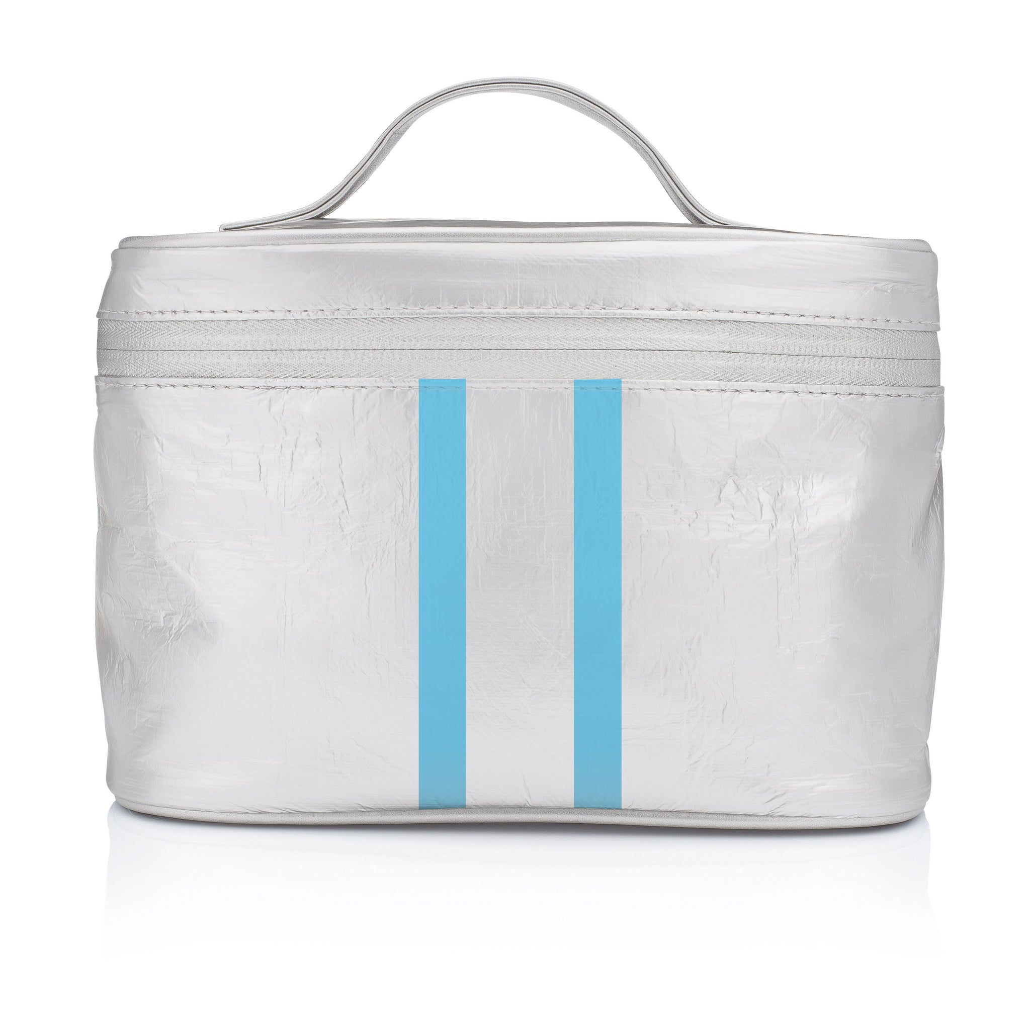 Cute Cosmetic Case - Lunch Box - Metallic Silver with Sky Blue Stripes