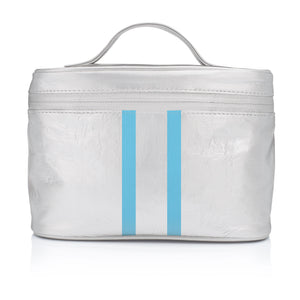 Cosmetic Case - Lunch Box - Metallic Silver with Sky Blue Double Lines