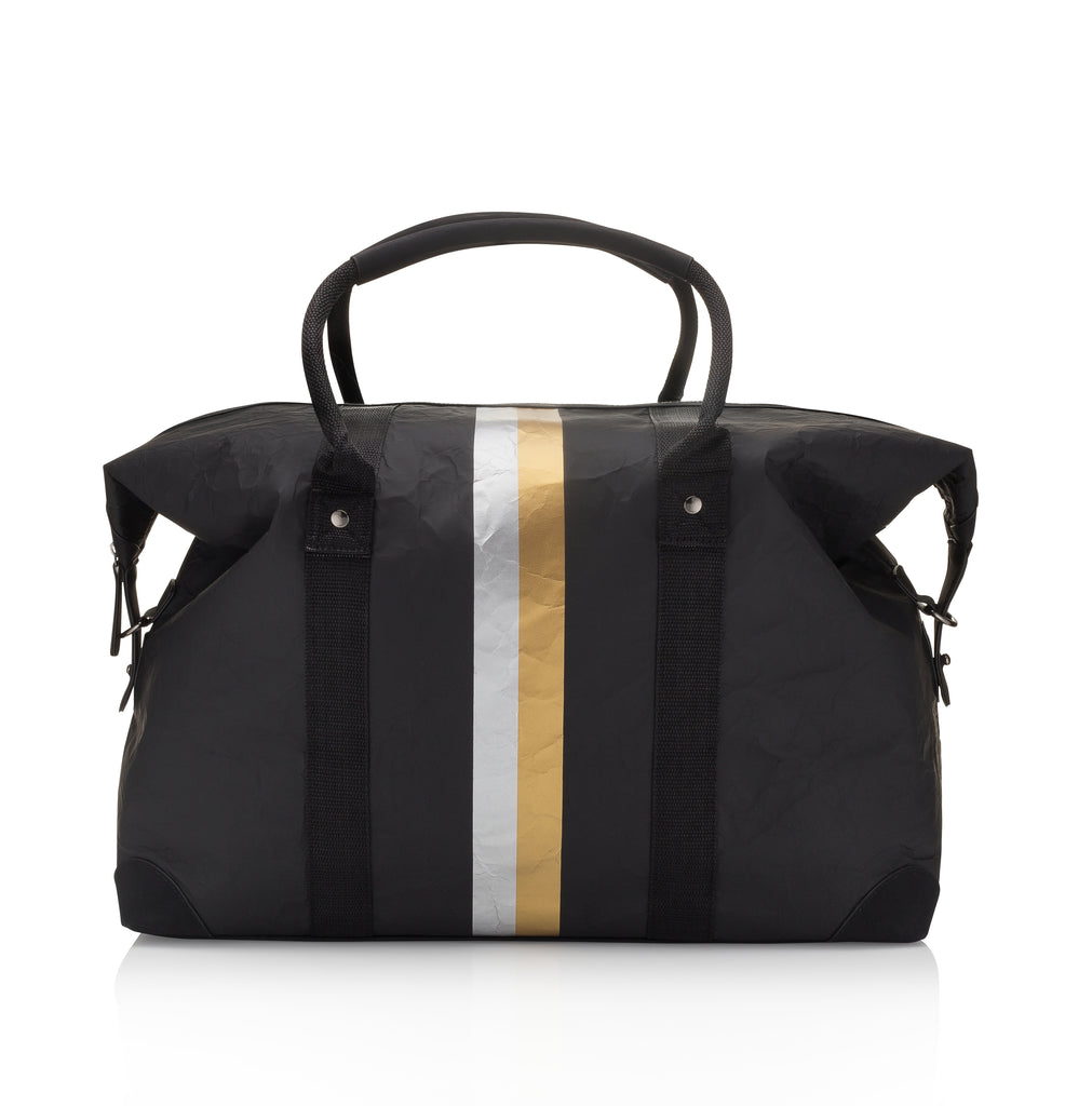 The Weekender - Black with Metallic Double Line