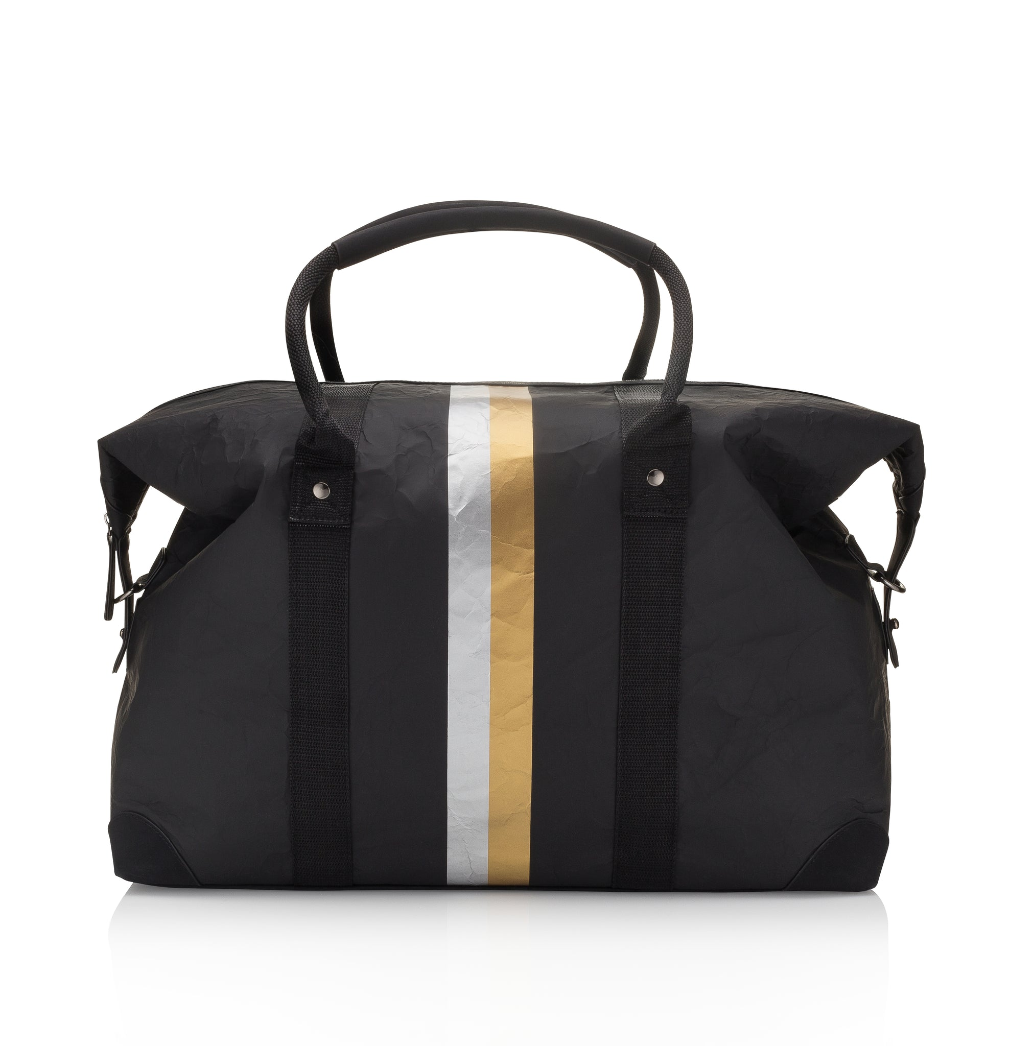 Hi Love The Weekender Travel Bag Carry On - Cute Weekend Backpack - Black with Metallic Silver and Gold Stripes