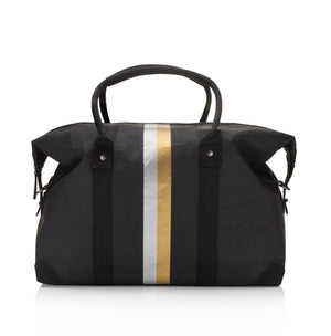 Hi Love The Weekender Travel Bag Carry On - Cute Weekend Backpack - Black with Metallic Double Line