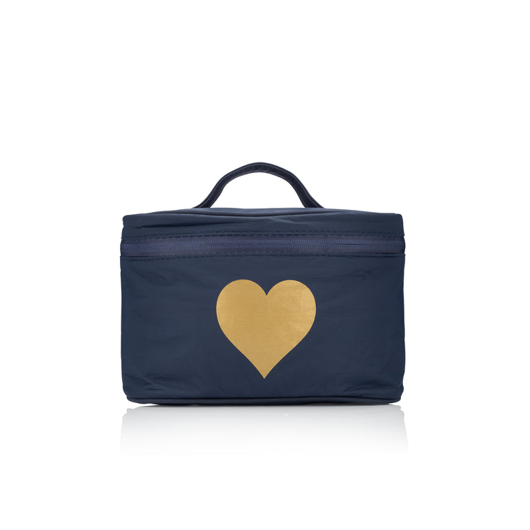 Cosmetic Case - Navy with a Metallic Gold Heart