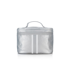 Cosmetic Case - Lunch Box - Metallic Silver with Shimmer White Stripes