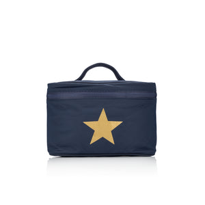 Cosmetic Case - Lunch Box - Navy with a Metallic Gold Star