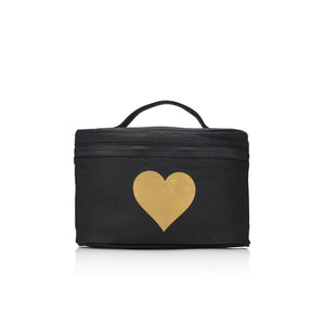 Cosmetic Case - Lunch Box - Black with Gold Heart