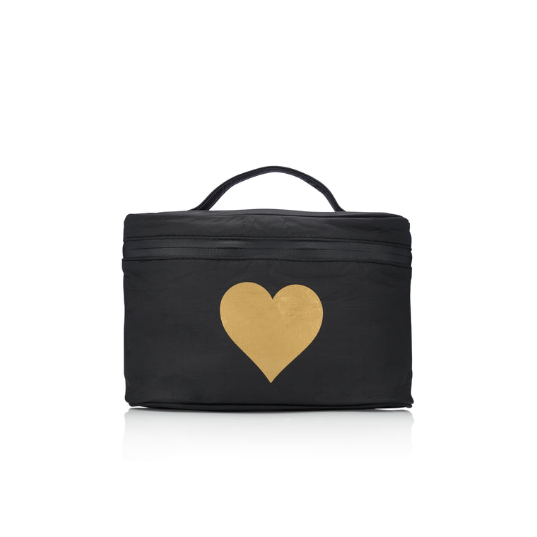 Cosmetic Case - Lunch Box - Black with a Metallic Gold Heart