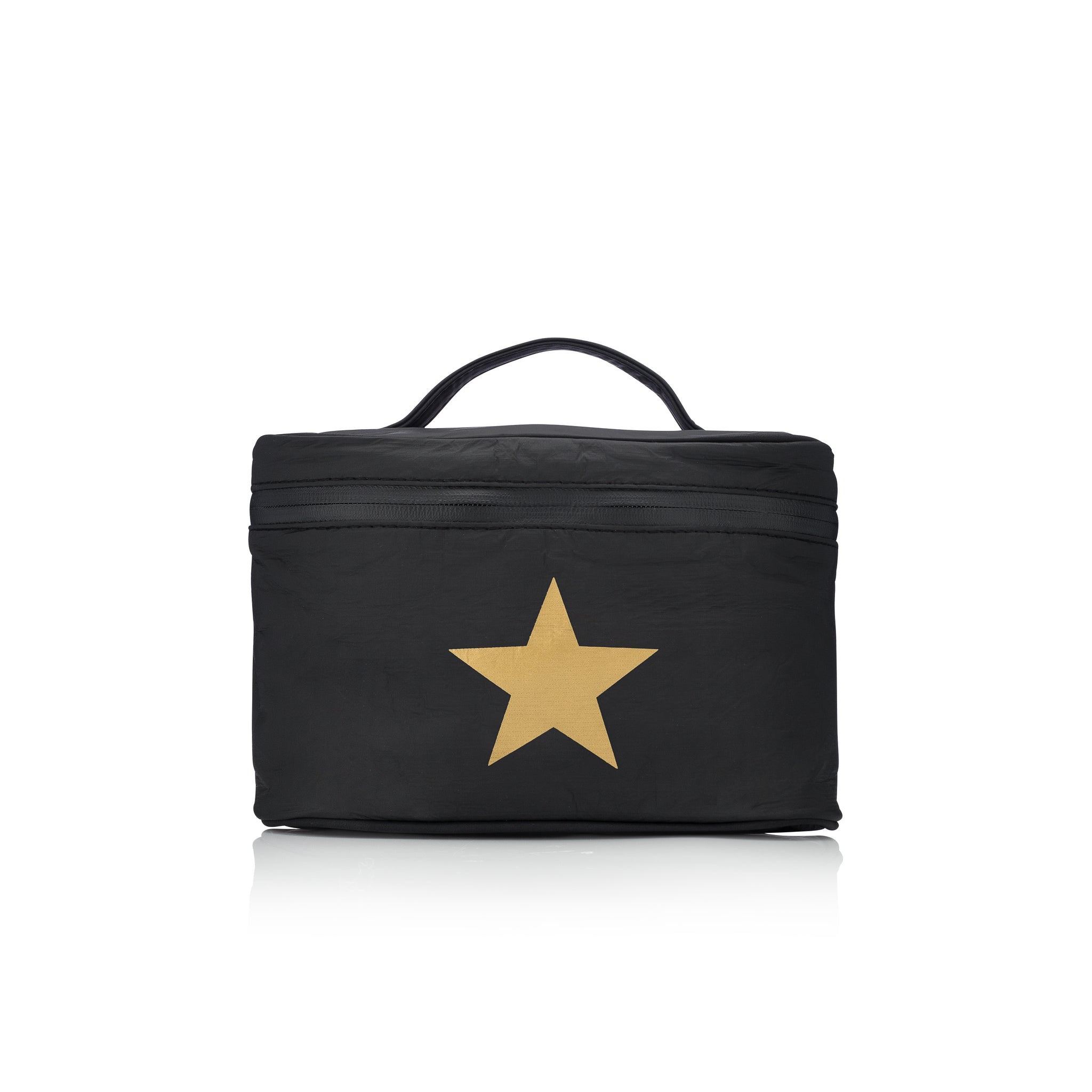 Cosmetic Case - Lunch Box - Black with a Metallic Gold Star