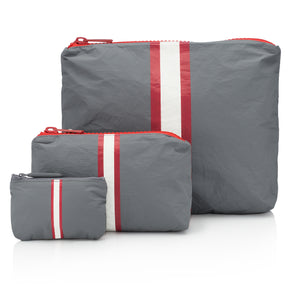 Travel Pack - Makeup Pouch - Set of Three Packs - Casa Tua Collection with Red and Cream Stripes