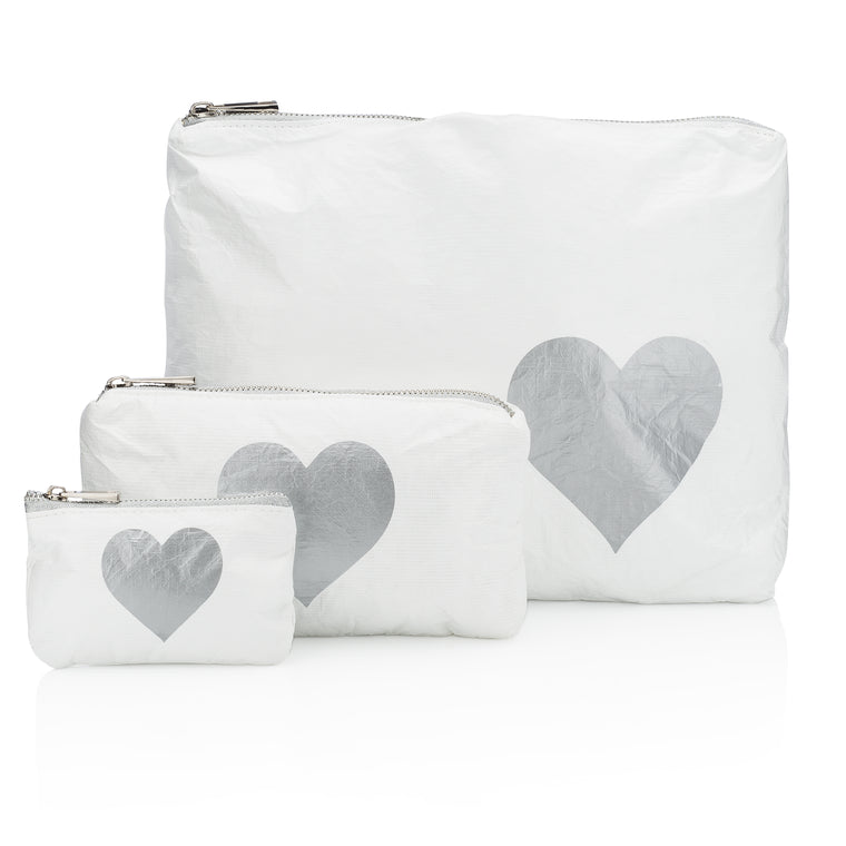 Set of Three Packs - White with a Metallic Silver Heart