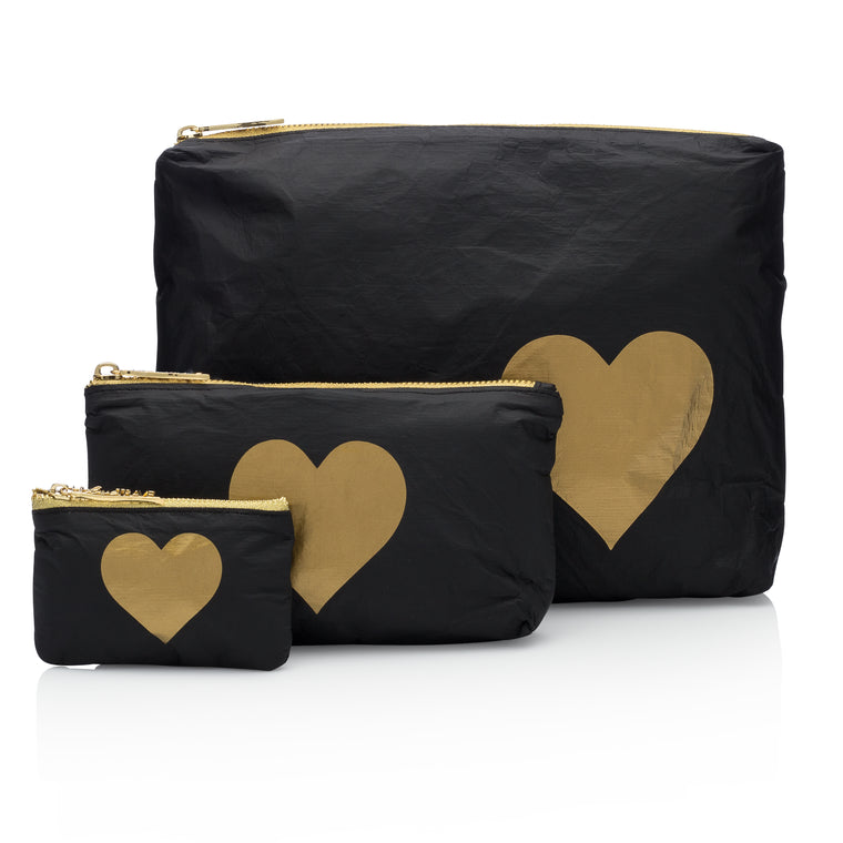 Set of Three Packs - Black HLT Collection with a Metallic Gold Heart