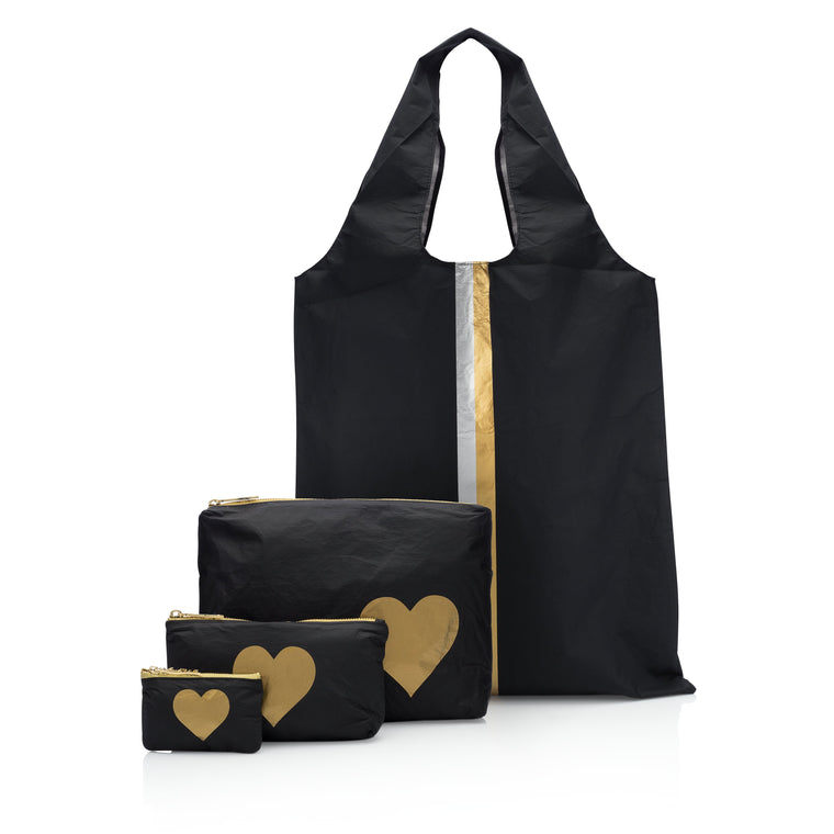 Carry it All - Classic Black Carryall with Three Piece Set Black with a Gold Heart