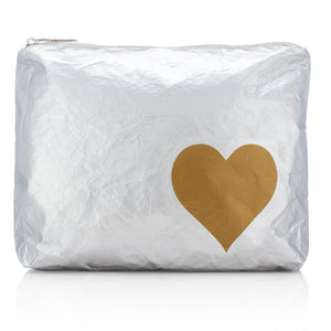 Makeup Pouch - Travel Pack - Medium Pack - Metallic Silver Bag with Metallic Gold Heart