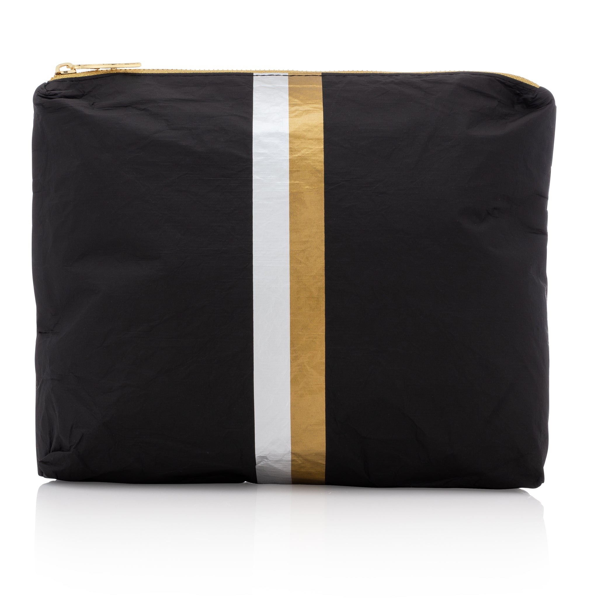 Makeup Pouch - Travel Pack - Cute Clutch - Medium Pack - Black with Metallic Silver and Gold Stripes