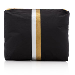 Makeup Pouch - Travel Pack - Cute Clutch - Medium Pack - Black with Metallic Silver and Metallic Gold Stripes