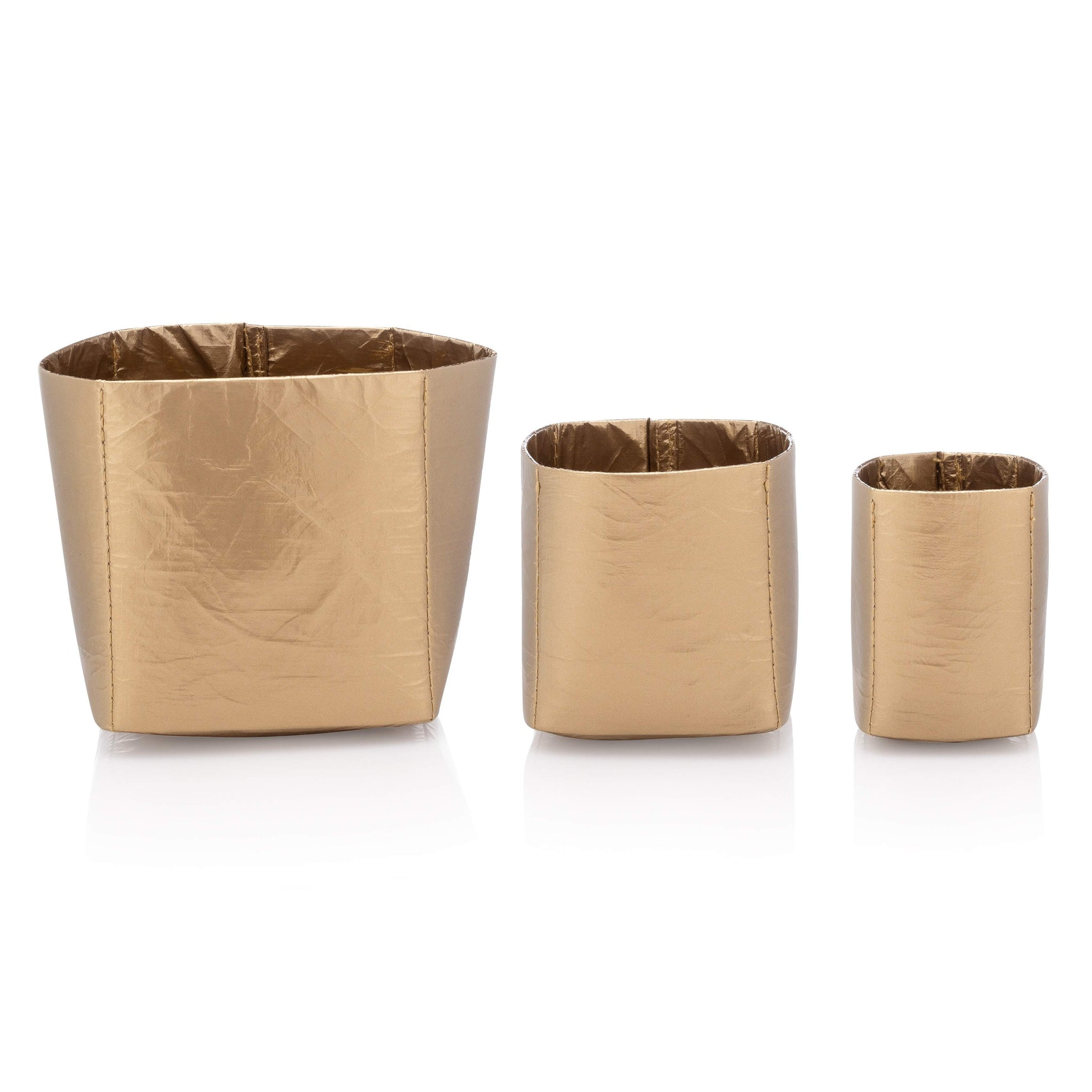 Desk Organizers - Cup Trio - Metallic Shiny Gold Cup Set
