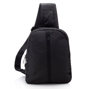 Crossbody Backpack - Black with Outside Front Zipper Pocket