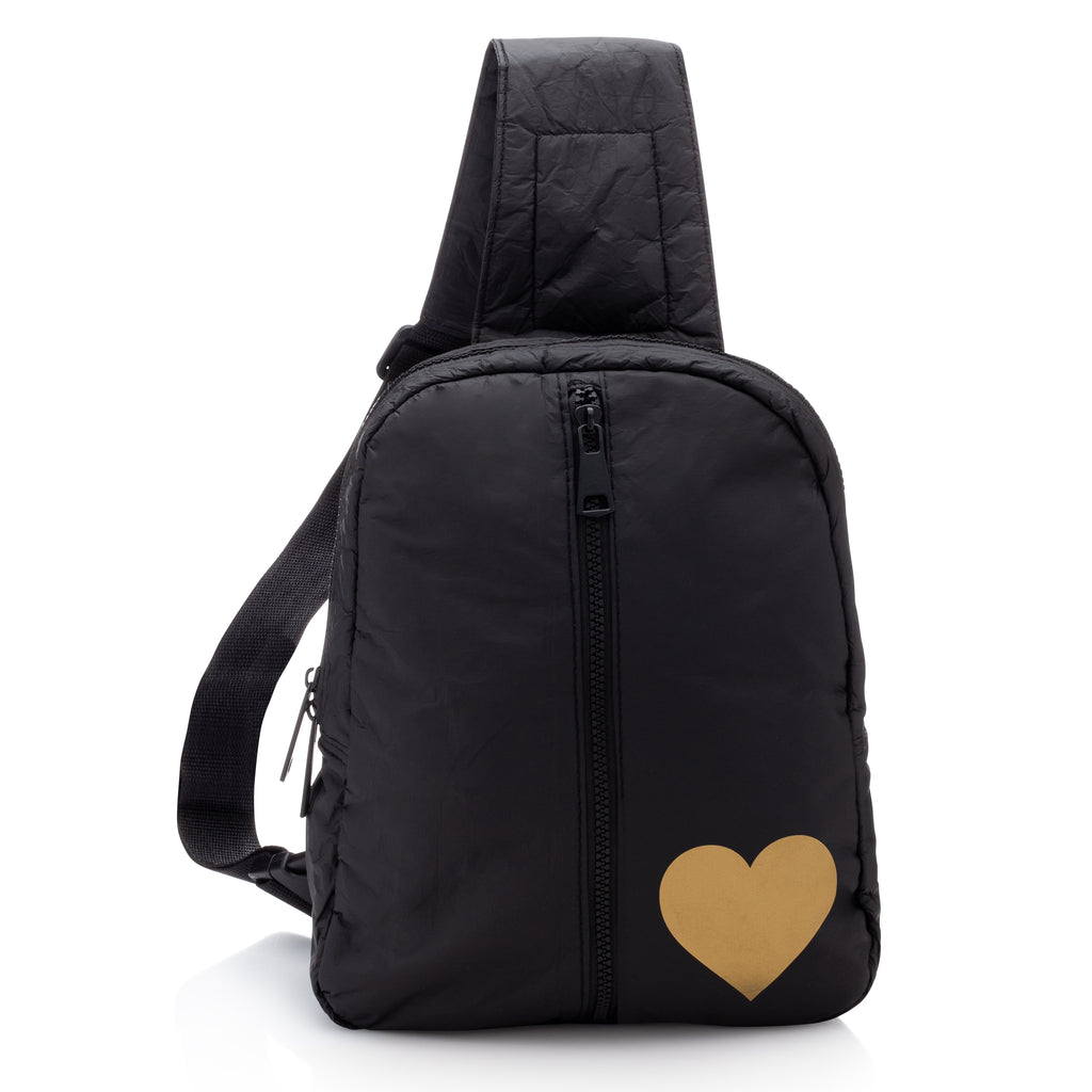 Crossbody Backpack - Black with Outside Front Zipper Pocket & a Metallic Gold Heart