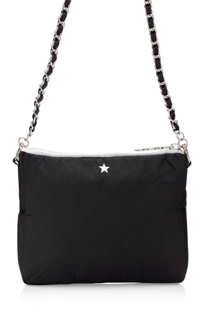 Cute Crossbody Fashion - Chain Purse - Chain Collection - Black Purse with a Silver Star