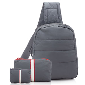 Crossbody Set - Cool Gray Crossbody Backpack with Casa Tua Mini & Emergency